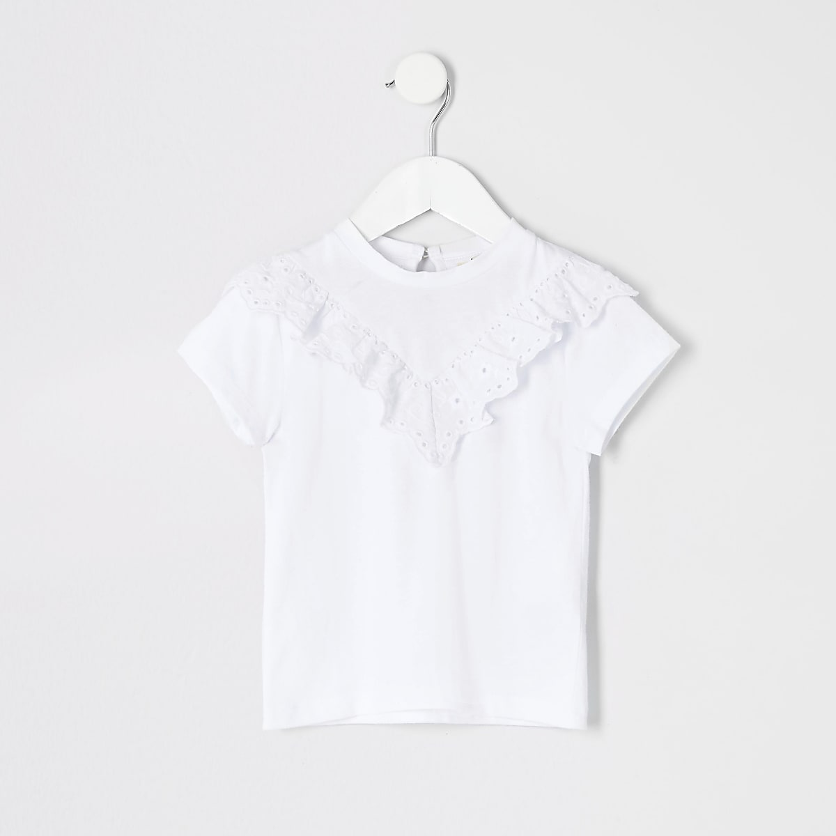 Mini girls white broderie T-shirt