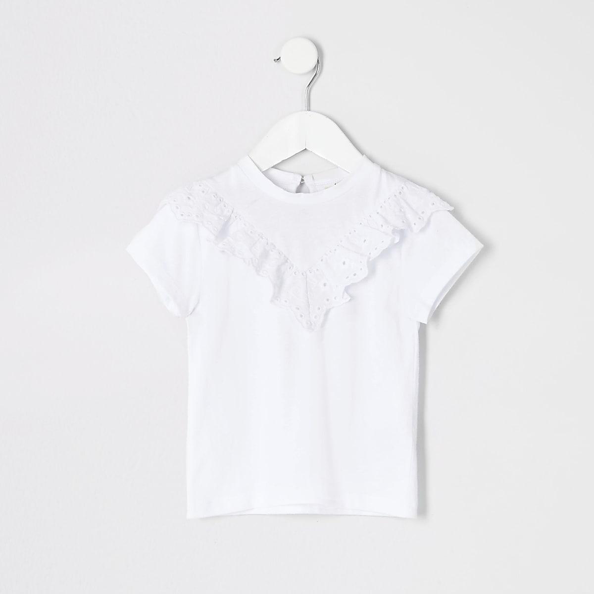 Mini - Wit T-shirt met broderie voor meisjes