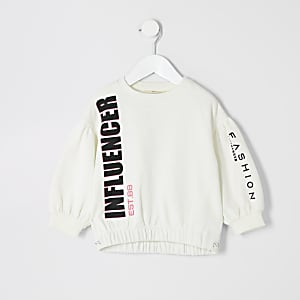 """Mini – Sweatshirt """"Influencer"""" in Creme für Mädchen"""