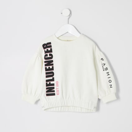 Mini girls cream 'Influencer' sweatshirt