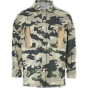 Paillettenverzierte Hemdjacke in Khaki mit Camouflage-Muster für Mädchen