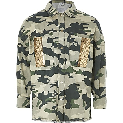 Girls khaki camo embellished shacket