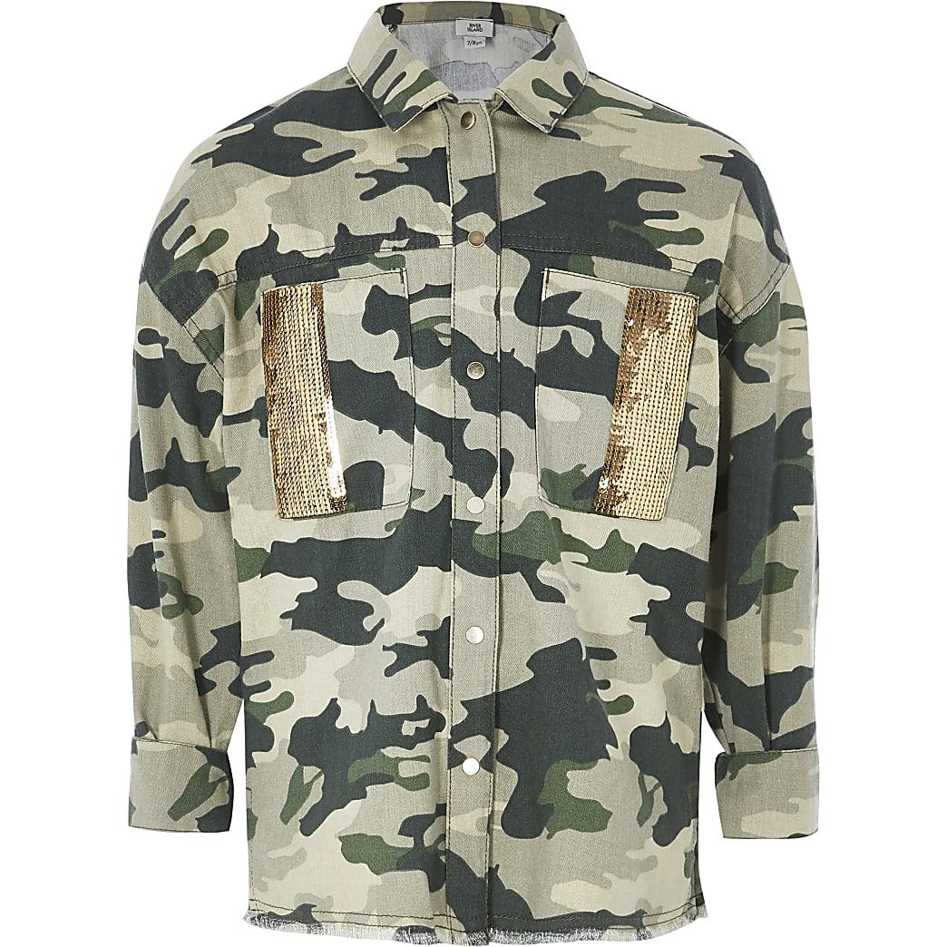 Kaki verfraaide shacket met camouflageprint voor meisjes