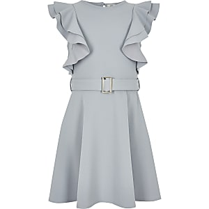 Girls grey ruffle belted dress