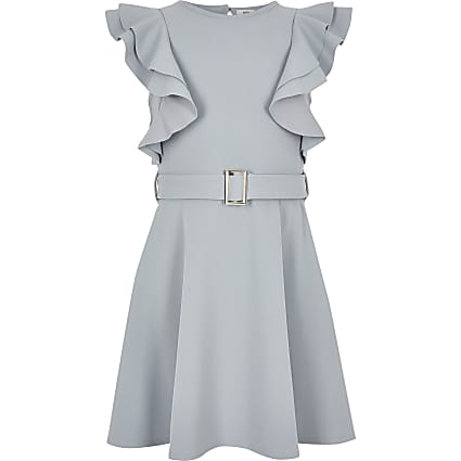 Girls grey ruffle belted dress