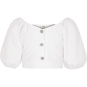 Girls White puff sleeve top