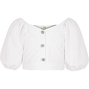 Witte top met pofmouwen voor meisjes