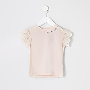 Mini girls pink printed broderie T-shirt