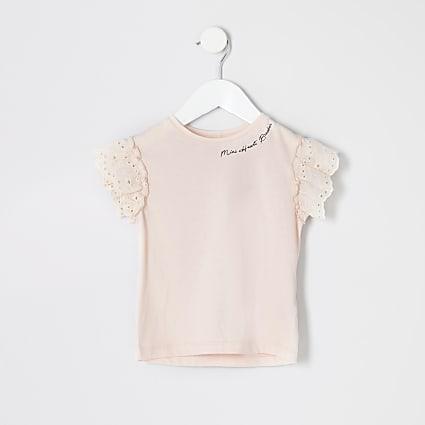 Mini girls pink printed broderie T-shirt
