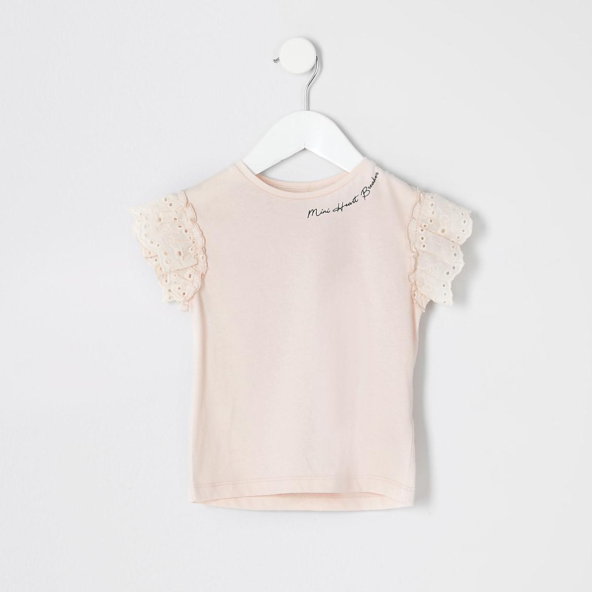 Mini - Roze T-shirt met broderie en print voor meisjes