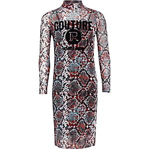 Rode mesh jurk met slangenprint voor meisjes