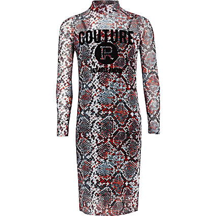 Girls red snake print mesh dress