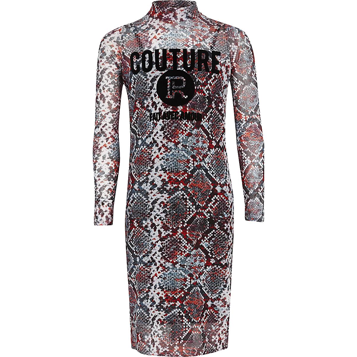 Girls red snake print mesh dress