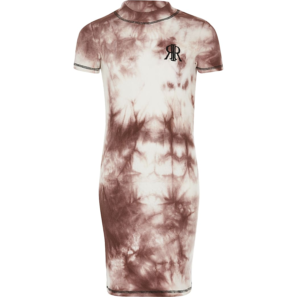 Girls pink tye die ribbed T-shirt dress