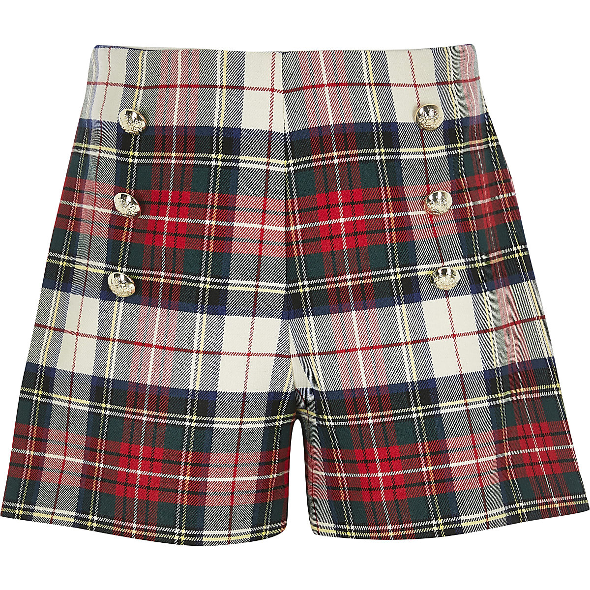 Girls red check shorts