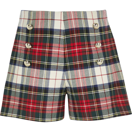 Girls red tartan print shorts