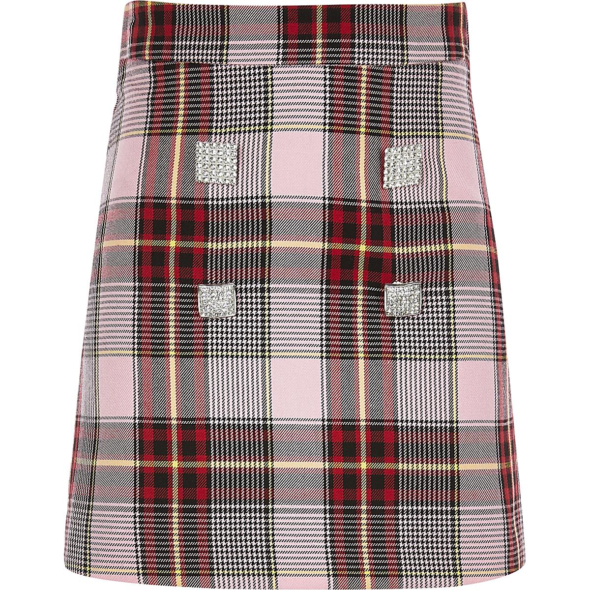 new concept 5600d 600cb Girls pink check A line skirt