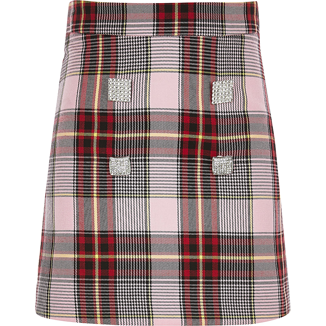 Girls pink check A line skirt