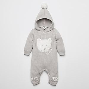 Genouillère en maille grise avec ours en imitation mouton pour bébé