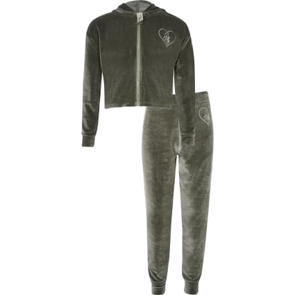 Girls khaki 'made with love' pyjama set