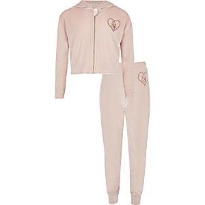 Outfit für Mädchen mit pinkfarbenem Velours-Pyjama mit Stickerei