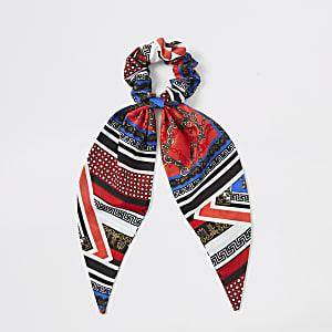 Blauwe en rode scrunchie met sjaalprint voor meisjes