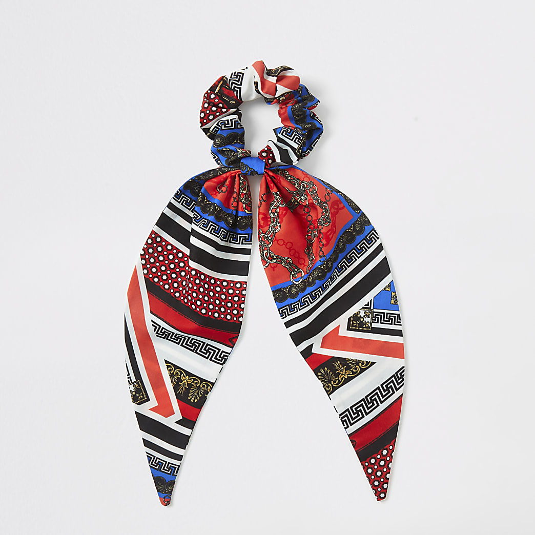 Girls blue and red scarf print scrunchie