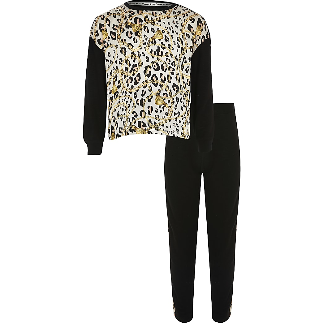 Girls black leopard print pyjama set