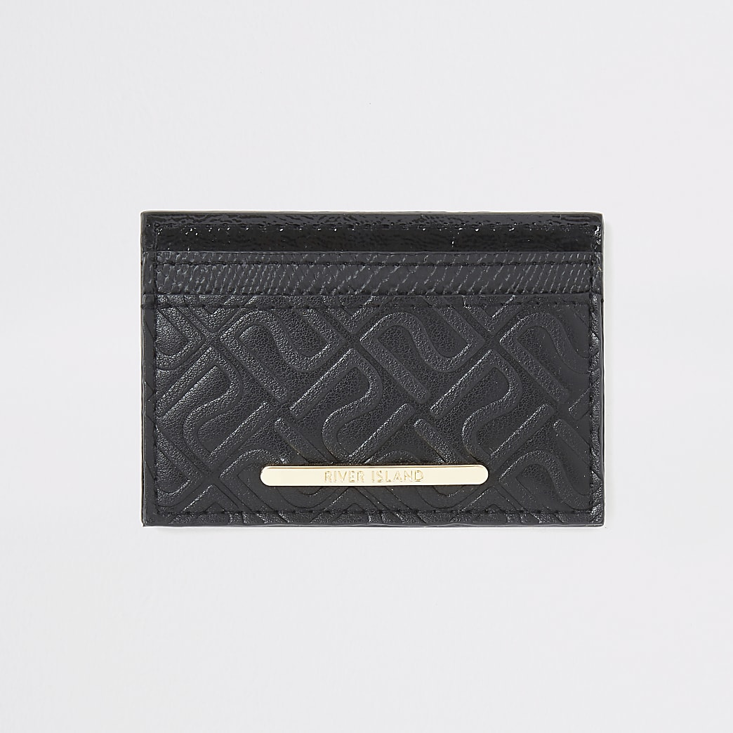 Girls black RI monogram card holder