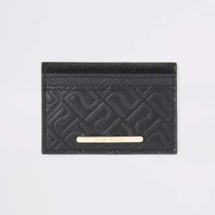 Girls black RI monogram card holder