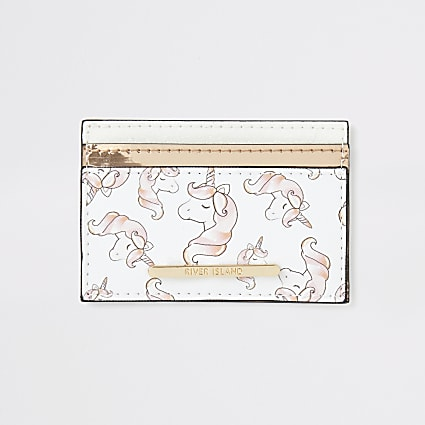 Girls white unicorn print card holder