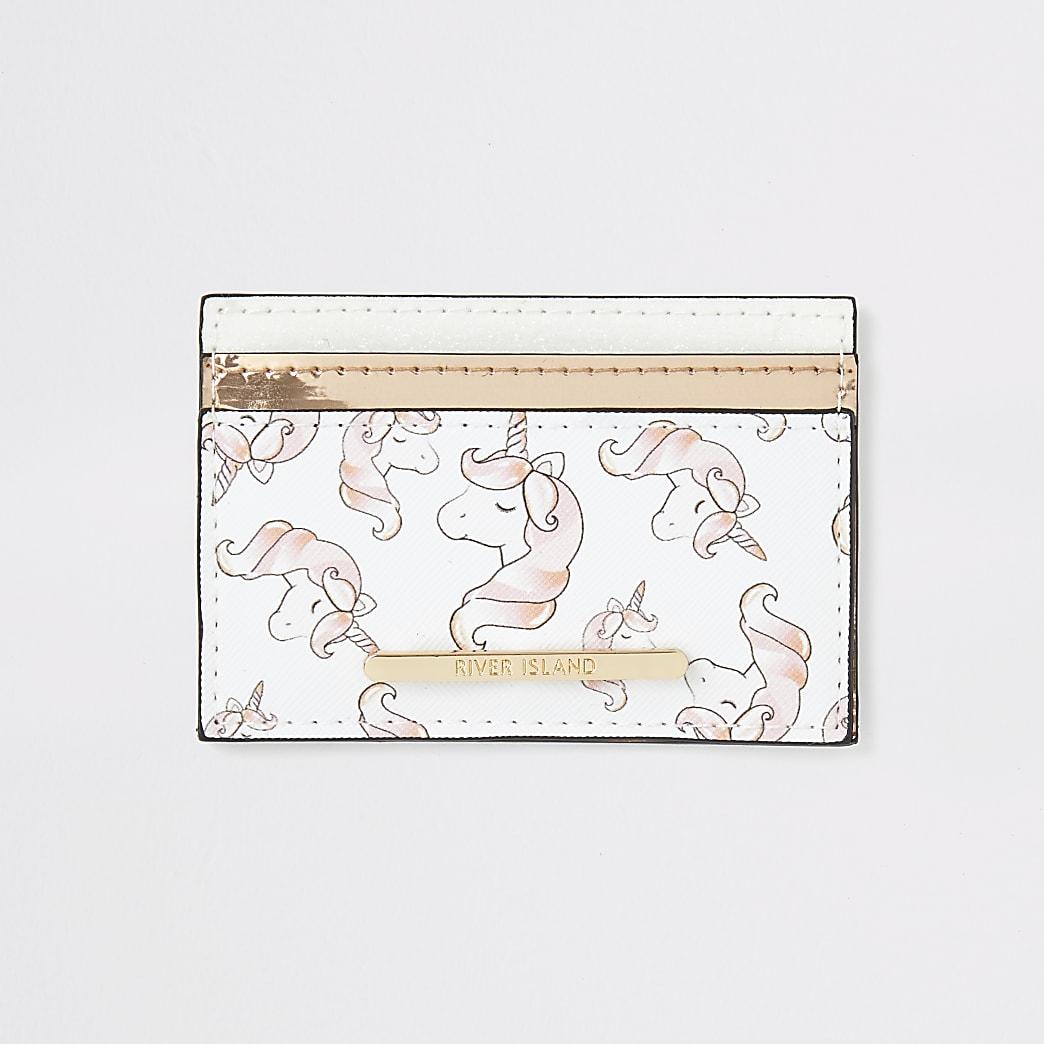 Girls white unicorn print card holder
