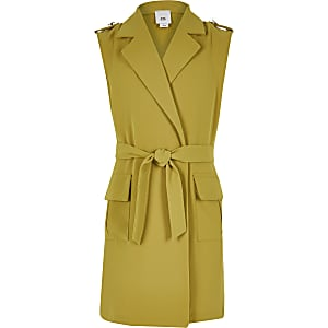 Girls yellow sleeveless tie utility blazer