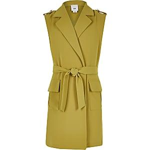 Gele mouwloze utility blazer met strik bij de hals voor meisjes