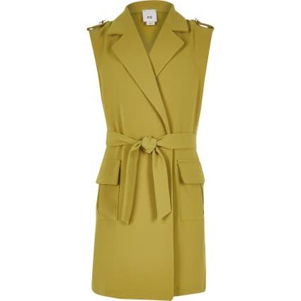 Girls yellow sleeveless tie utility blazer