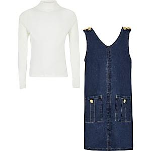 Tenue avec robe chasuble en denim bleu pour fille