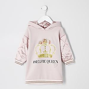 Mini - Roze hoodie-jurk met '#selfie-queen'-print voor meisjes