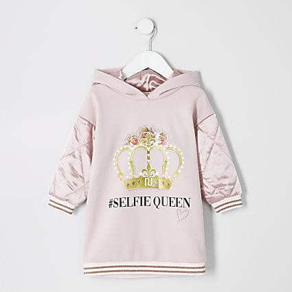 Mini girls pink '#selfie queen' hoodie dress