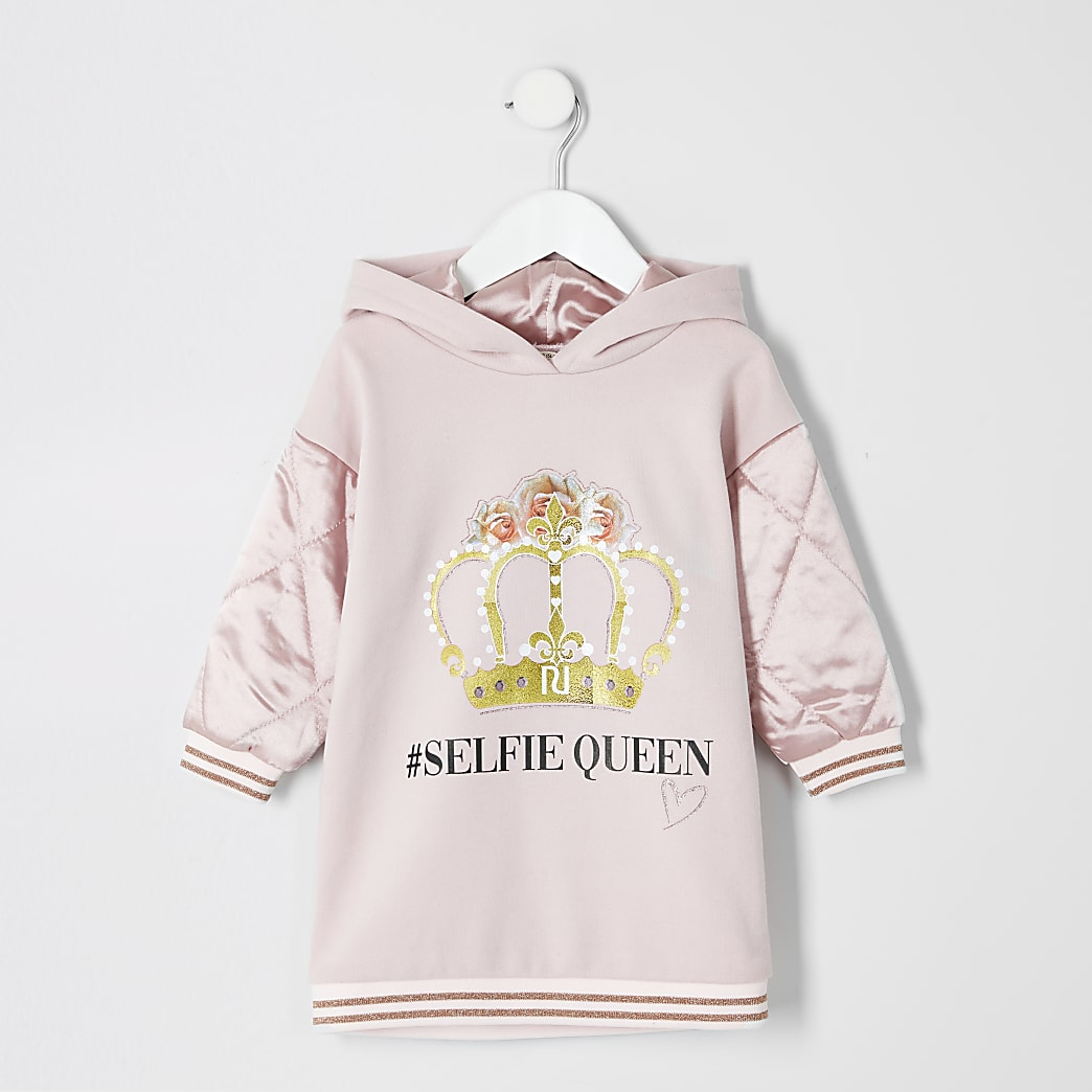 Mini girls pink printed sweatshirt dress