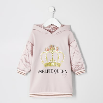 Mini girls pink '#selfie queen' hoodie dress