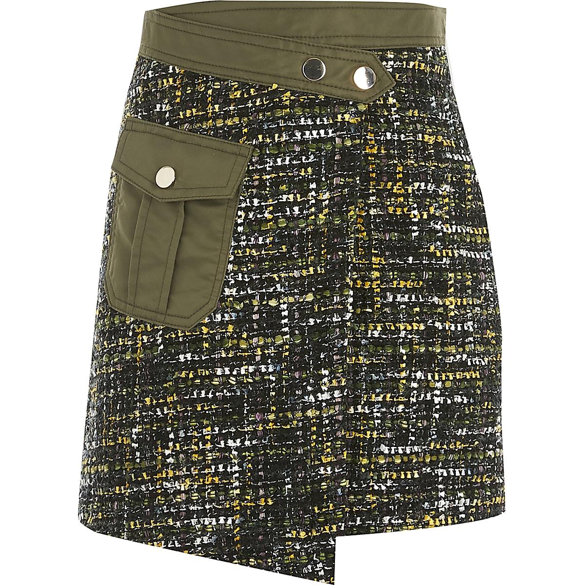 Girls khaki utility wrap boucle skirt