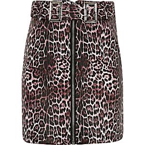 Rock mit Gürtel und Leopardenprint für Mädchen