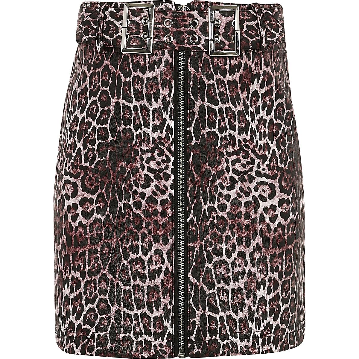Girls leopard print belted skirt