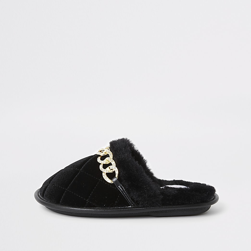 Girls black diamante chain mule slippers