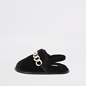 Mini - Zwartepantoffels met ketting met siersteentjes voor meisjes