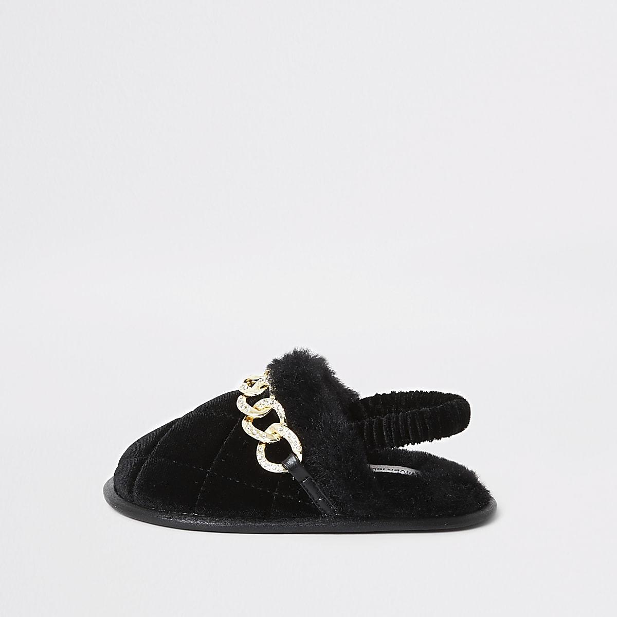 Mini girls black diamante chain slippers
