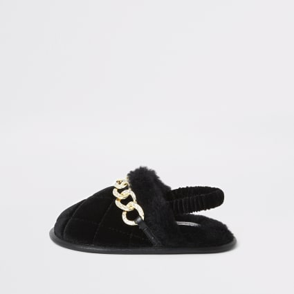 Mini girls black diamante chain slippers