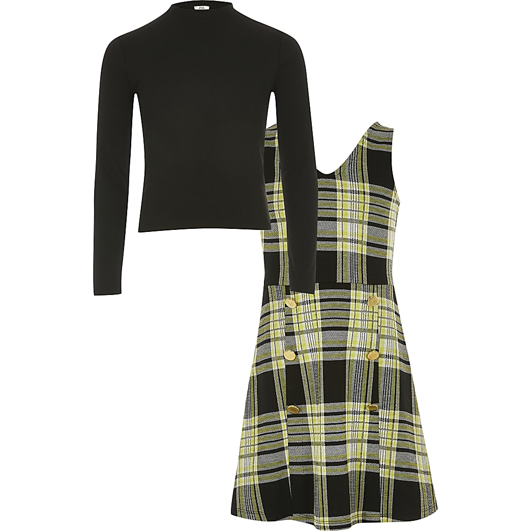 Girls green check pinafore dress outfit
