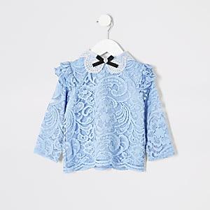 Mini - Blauwe top met strikkraag en kanten voor meisjes