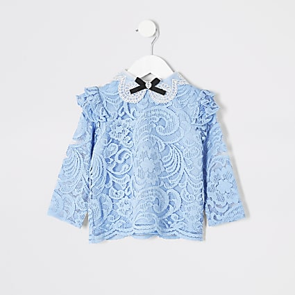 Mini girls blue lace bow collar top
